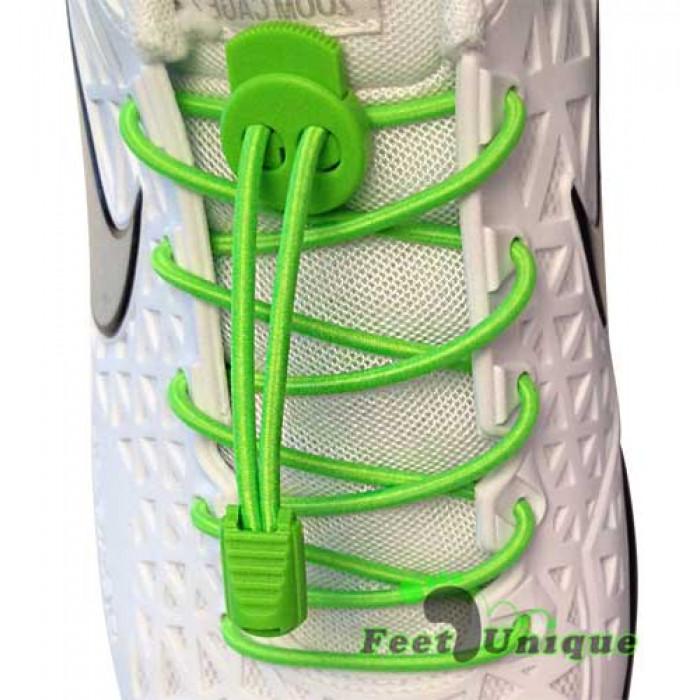 Lacci elastici verde fluo con blocco