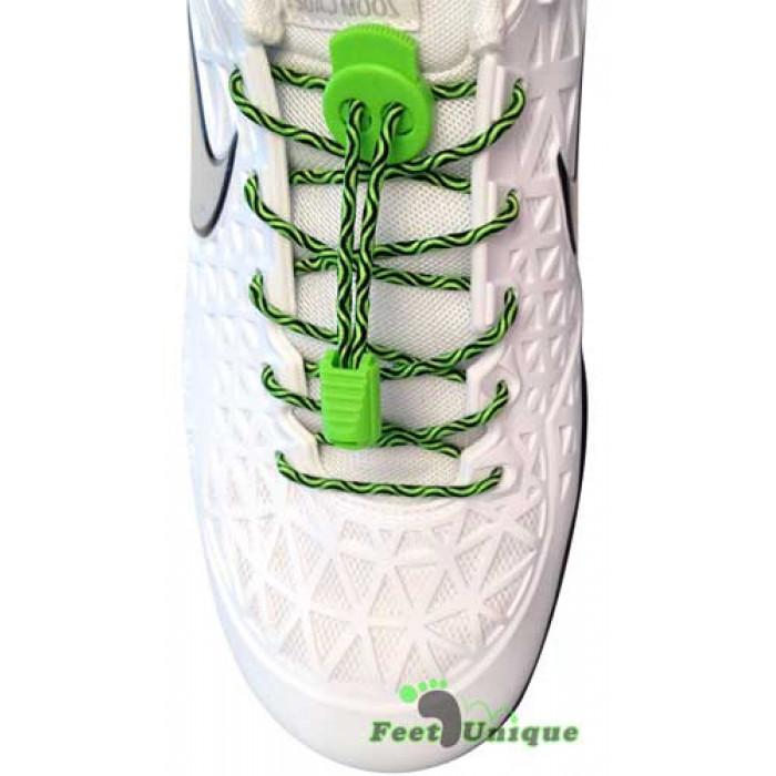 Lacci elastici nero e verde con blocco