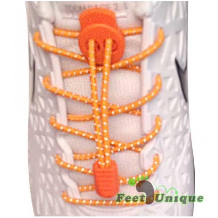 Lacci riflettenti arancione fluo con blocco