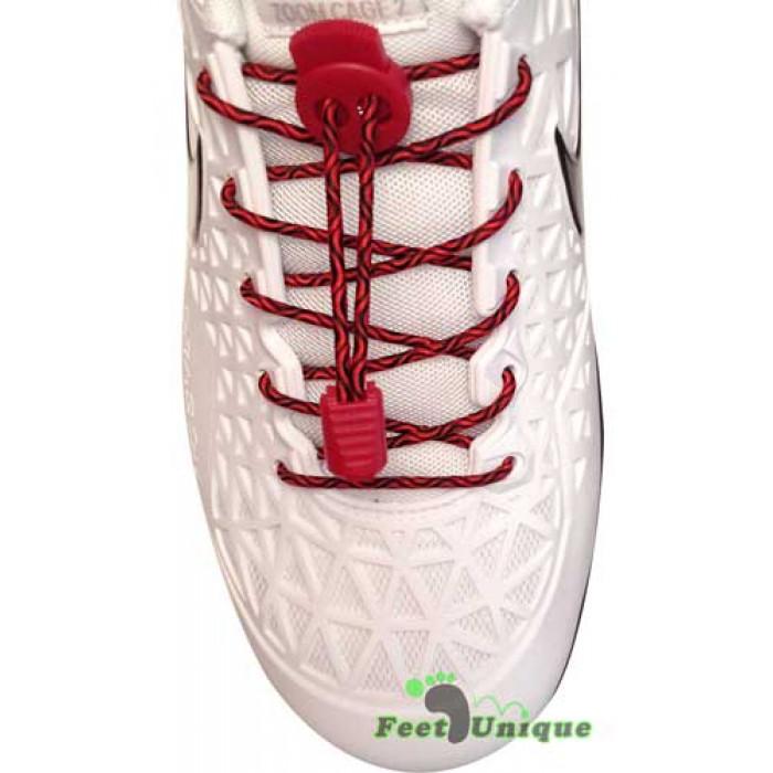 Lacci elastici nero e rosso con blocco