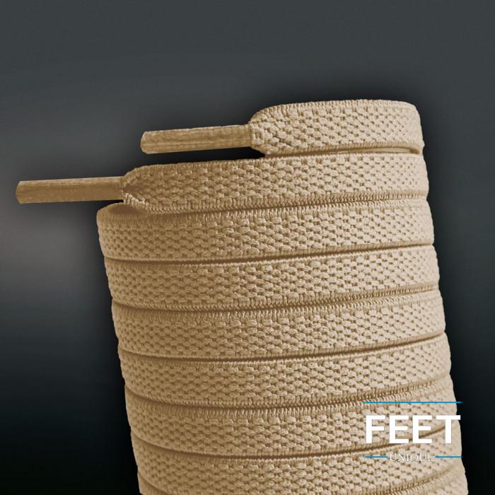 Lacci elastici piatti marrone chiaro (No Tie)