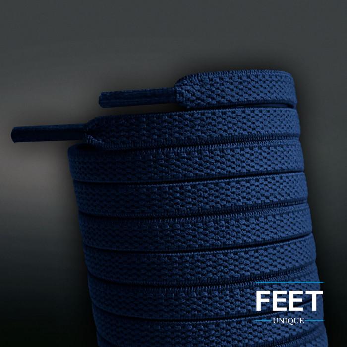 Lacci elastici piatti blu navy (No Tie)