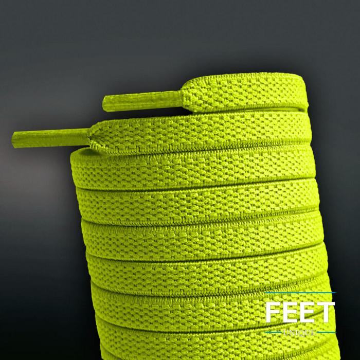 Lacci piatti elastici giallo fluorescente (no tie)
