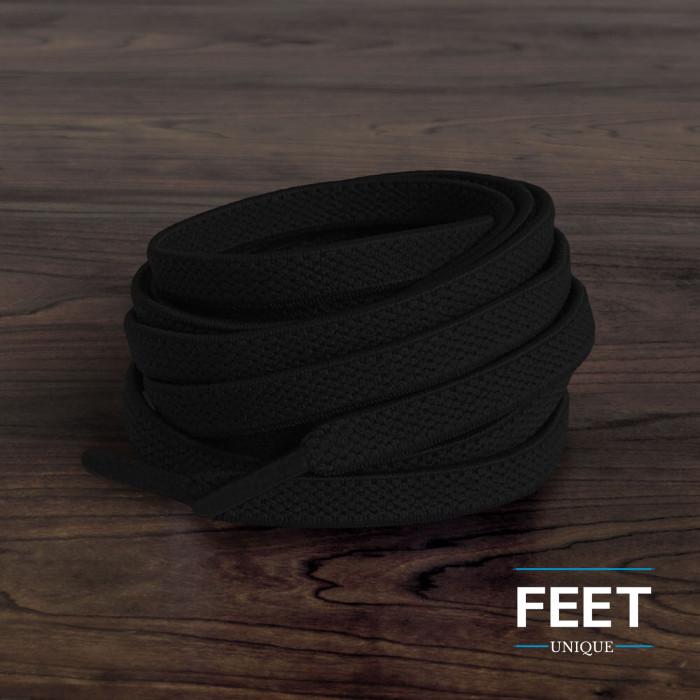 Lacci elastici piatti neri (no tie)