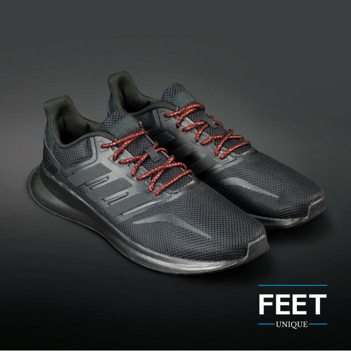 Adidas Yeezy - Lacci in Corda Nero e Rosso Metallico